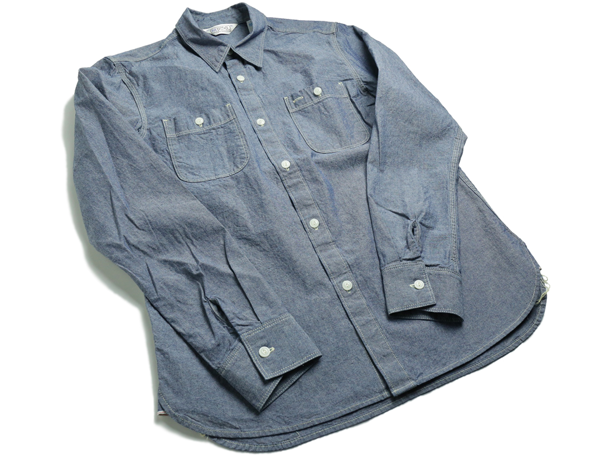 FIVE BROTHER / L/S CHAMBRAY WORK SHIRT - Blue
