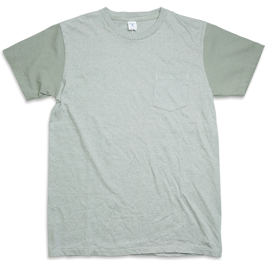 Velva Sheen / 2 TONE MOCK TWIST CREW NECK POCKET TEE - H.Grey