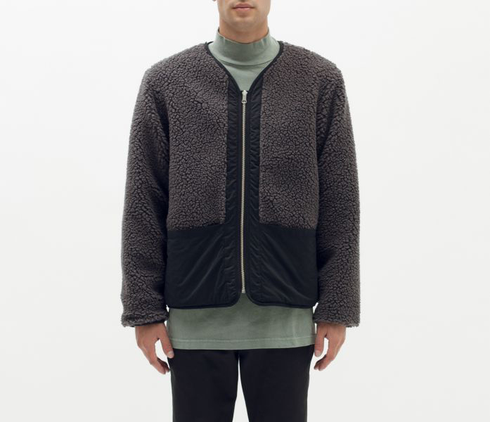 REVERSIBLE SHERPA FLEECE JACKET color : Black