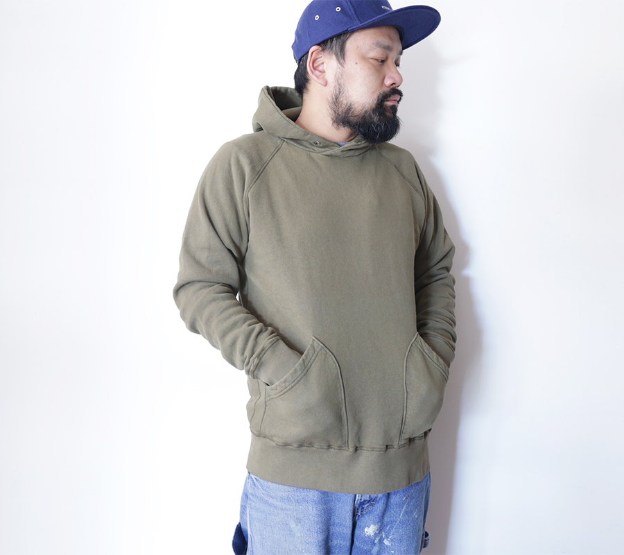 "VELVA SHEEN ""Blue Label""/10oz. PULLOVER HOODIE-Olive"