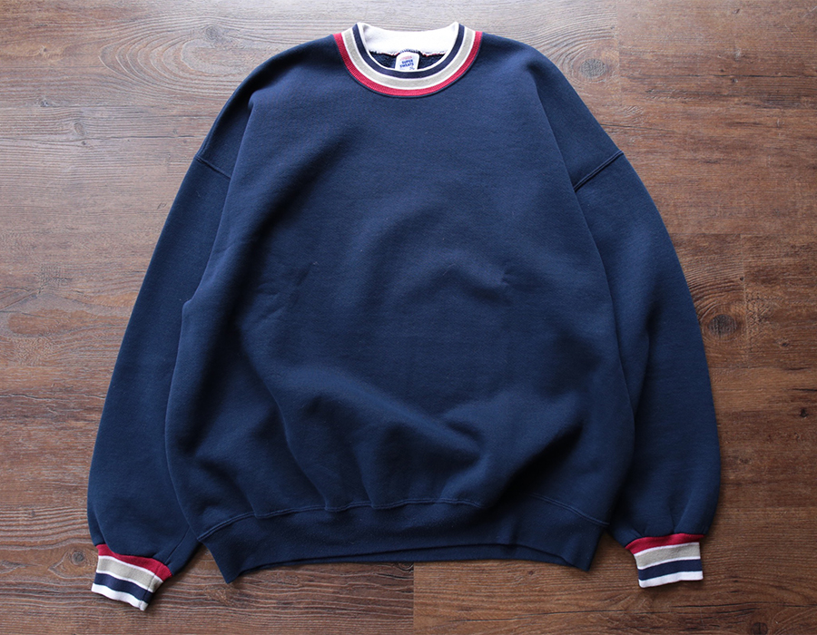 RIB BORDER CREWNECK SWEAT USED CLOTHING COLLECTION vol. 9