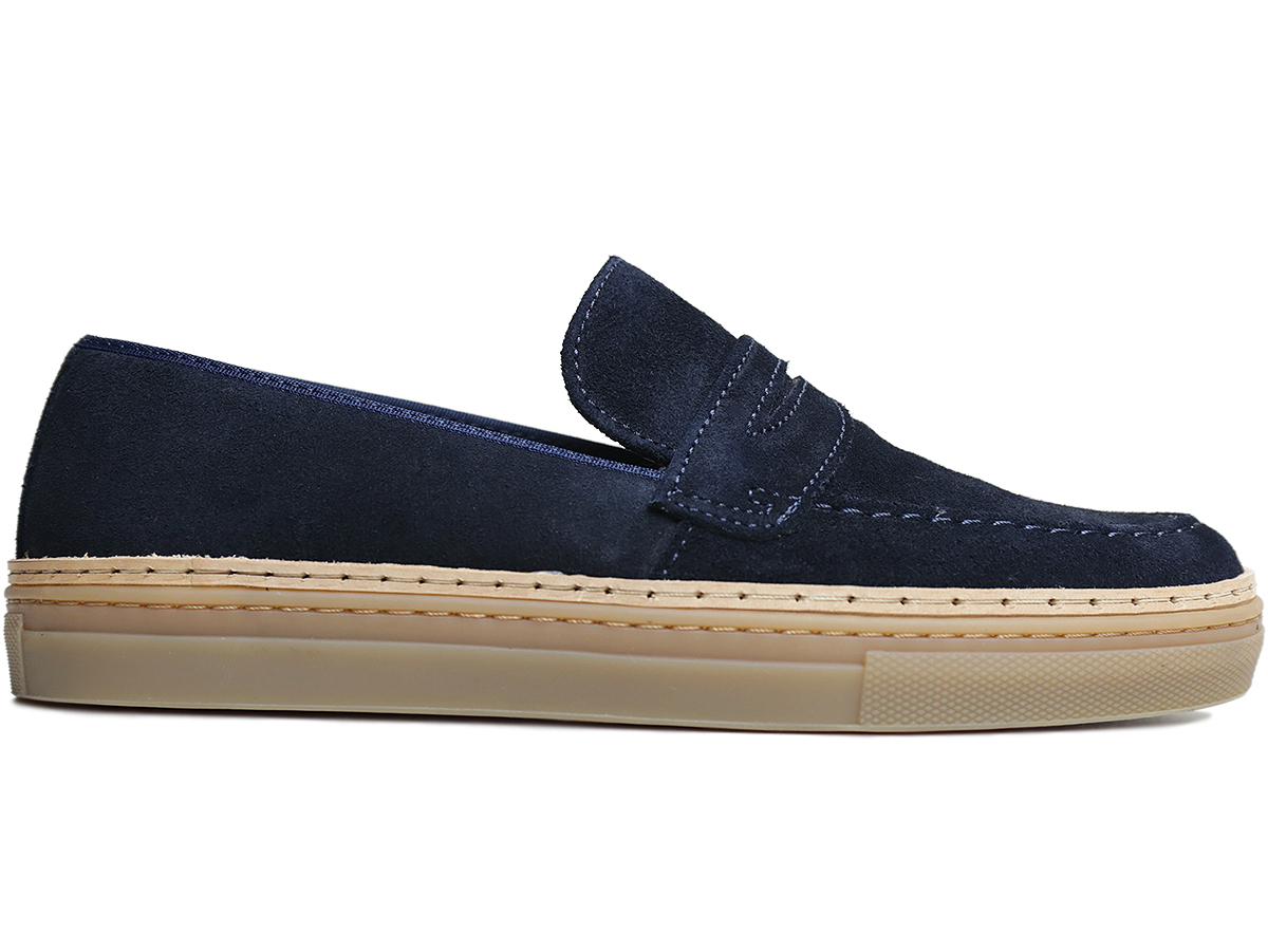 WANDER SHOES / FALL16  SUEDE PENNY LOAFERS  color : Navy  MADE IN PORTUGAL