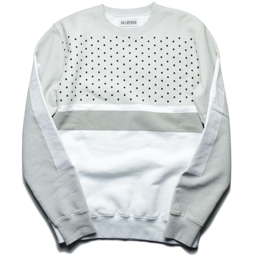 Han Kjobenhavn/2015 AW/DOTTED CHEST CREW-White/Grey