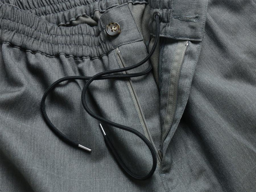MAIDEN NOIR / ELASTIC WOOL PANTS - Grey Check 4