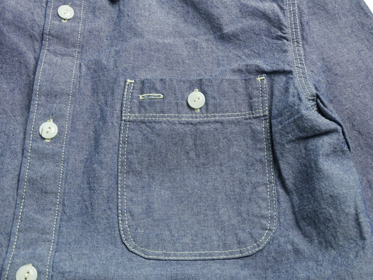 FIVE BROTHER / L/S CHAMBRAY WORK SHIRT - Blue  pocket