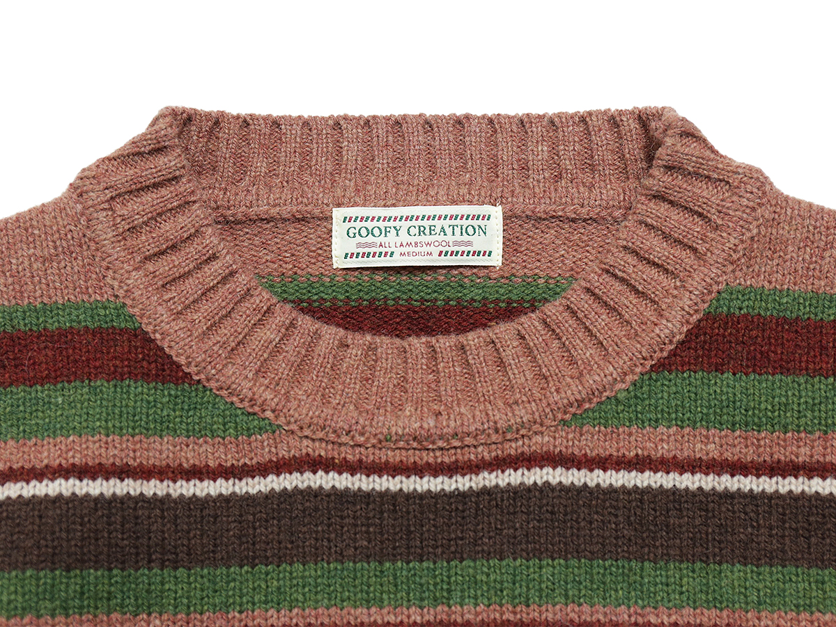 GOOFY CREATION LAMBS WOOL BORDER KNIT color : Pink