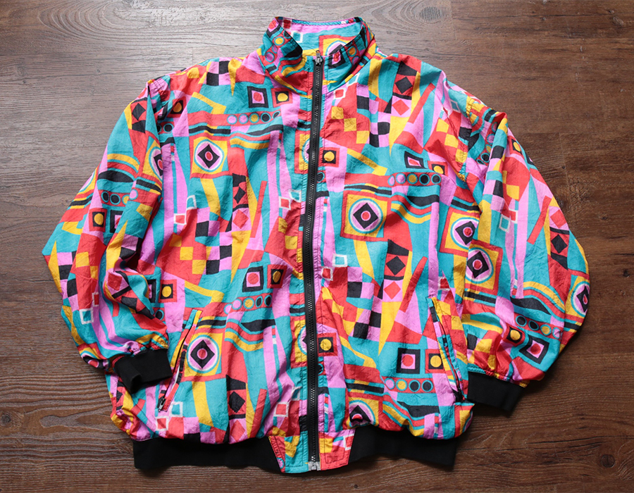 USED CRAZY ALL OVER NYLON JACKET