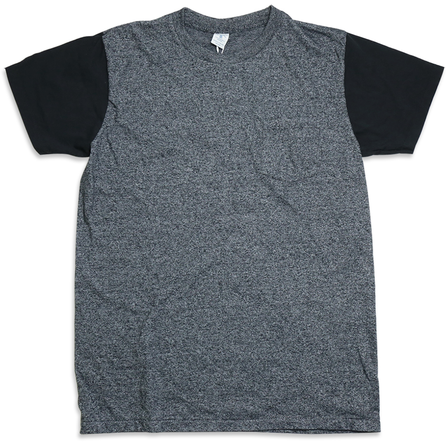 Velva Sheen / 2 TONE MOCK TWIST CREW NECK POCKET TEE - H.Black