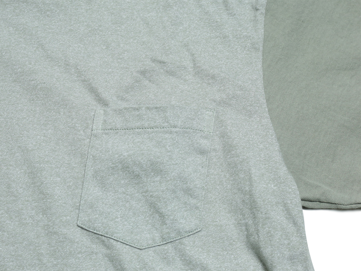 Velva Sheen / 2 TONE MOCK TWIST CREW NECK POCKET TEE - H.Grey