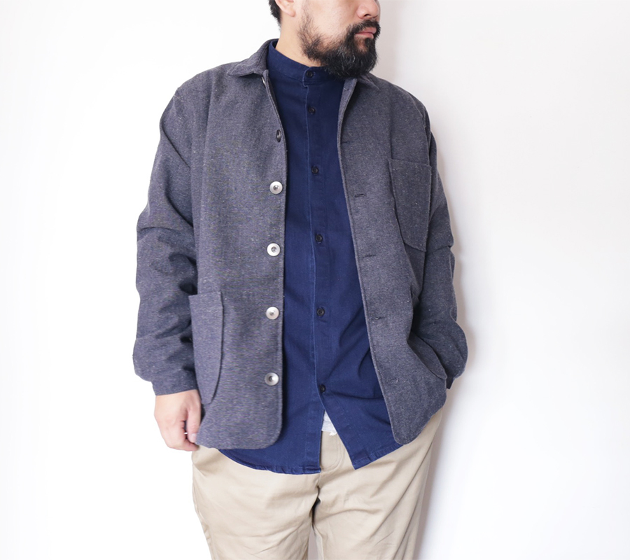 PORT LBC  FALL 2016 COLLECTION  ALAMEDA COAT  color : Charcoal Wool NORDEN POCKET BUTTON UP color : Indigo